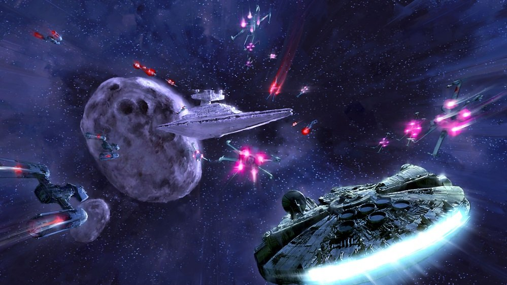 Space Battle Involving Several Rebels, A Star Destroyer, And An Asteroid