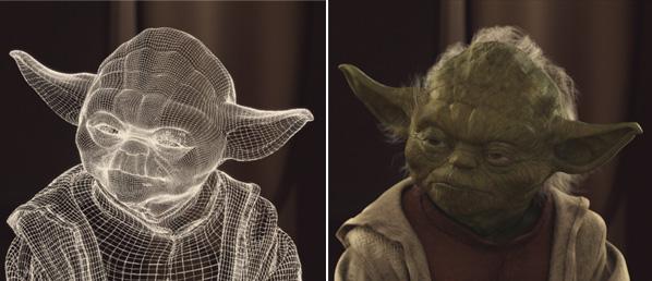 Yoda CGI wireframe