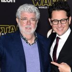 """HOLLYWOOD, CA - DECEMBER 14:  Filmmaker George Lucas (L) and writer-director J.J. Abrams attend the Premiere of Walt Disney Pictures and Lucasfilm's """"Star Wars: The Force Awakens"""" on December 14, 2015 in Hollywood, California.  (Photo by Ethan Miller/Getty Images)"""