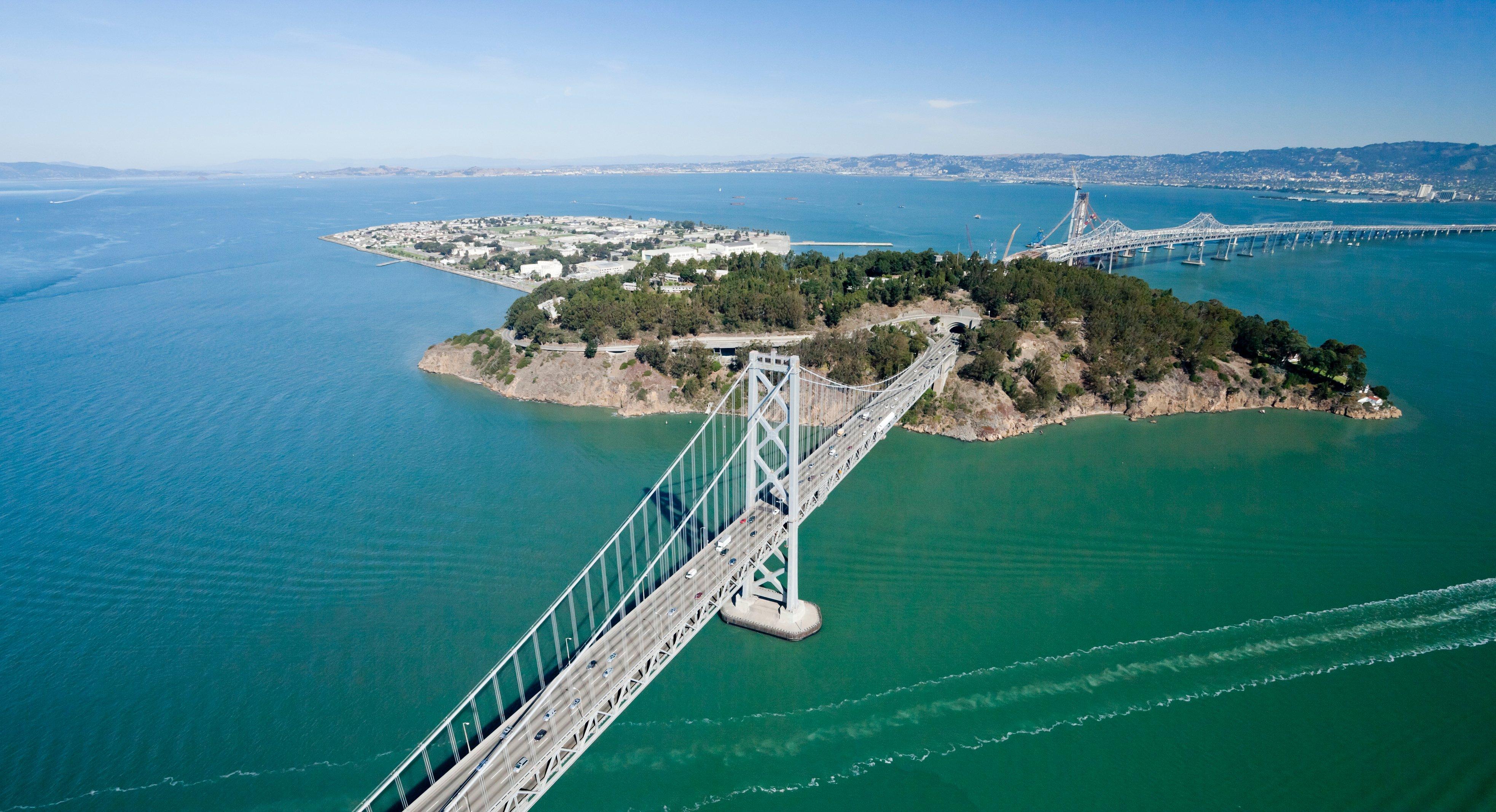 San Francisco Bay bridge aerial view w Treasure Island