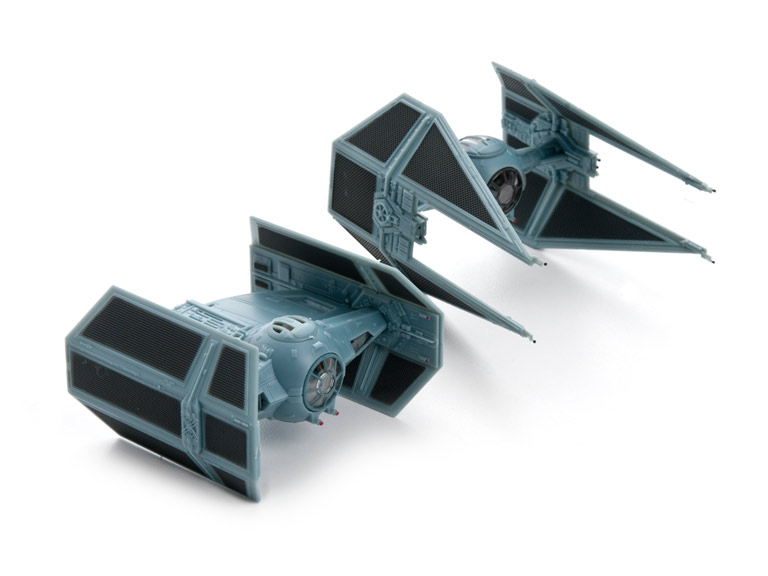 Models of Darth Vader's TIE fighter and TIE Inteceptor