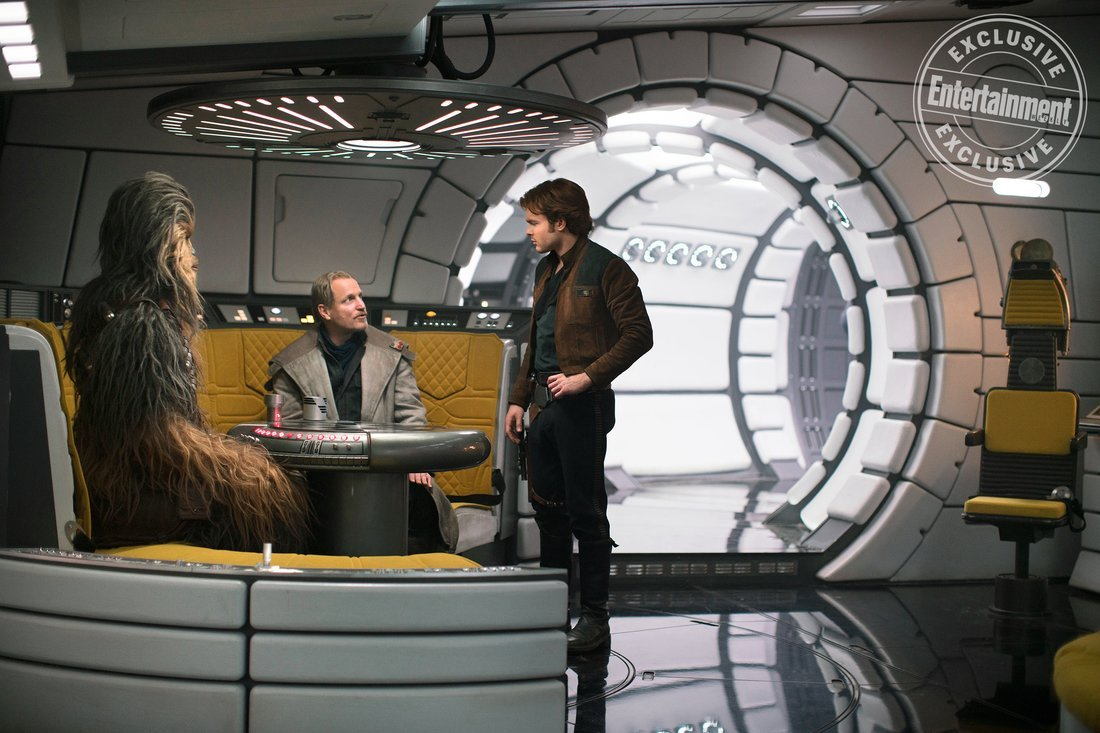 """SOLO: A STAR WARS STORY Joonas Suotamo is Chewbacca, Woody Harrelson is  Beckett and Alden Ehrenreich is Han Solo. """""""