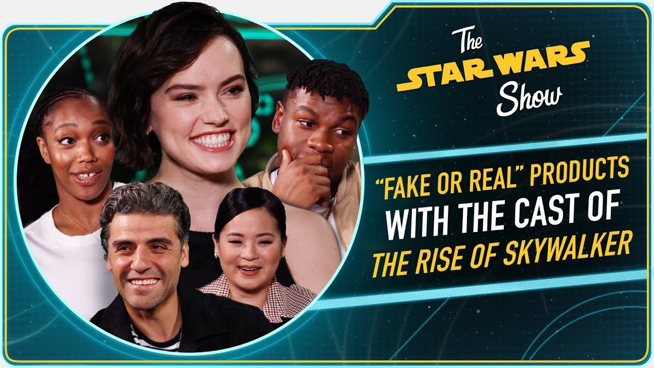 The Star Wars Show The Rise Of Skywalker Cast Test Their Star Wars Merchandise Skills Star Wars News Net