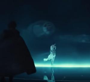 Rey and Kylo Ren in hangar bay