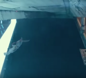 Rey leaping out of star destroyer