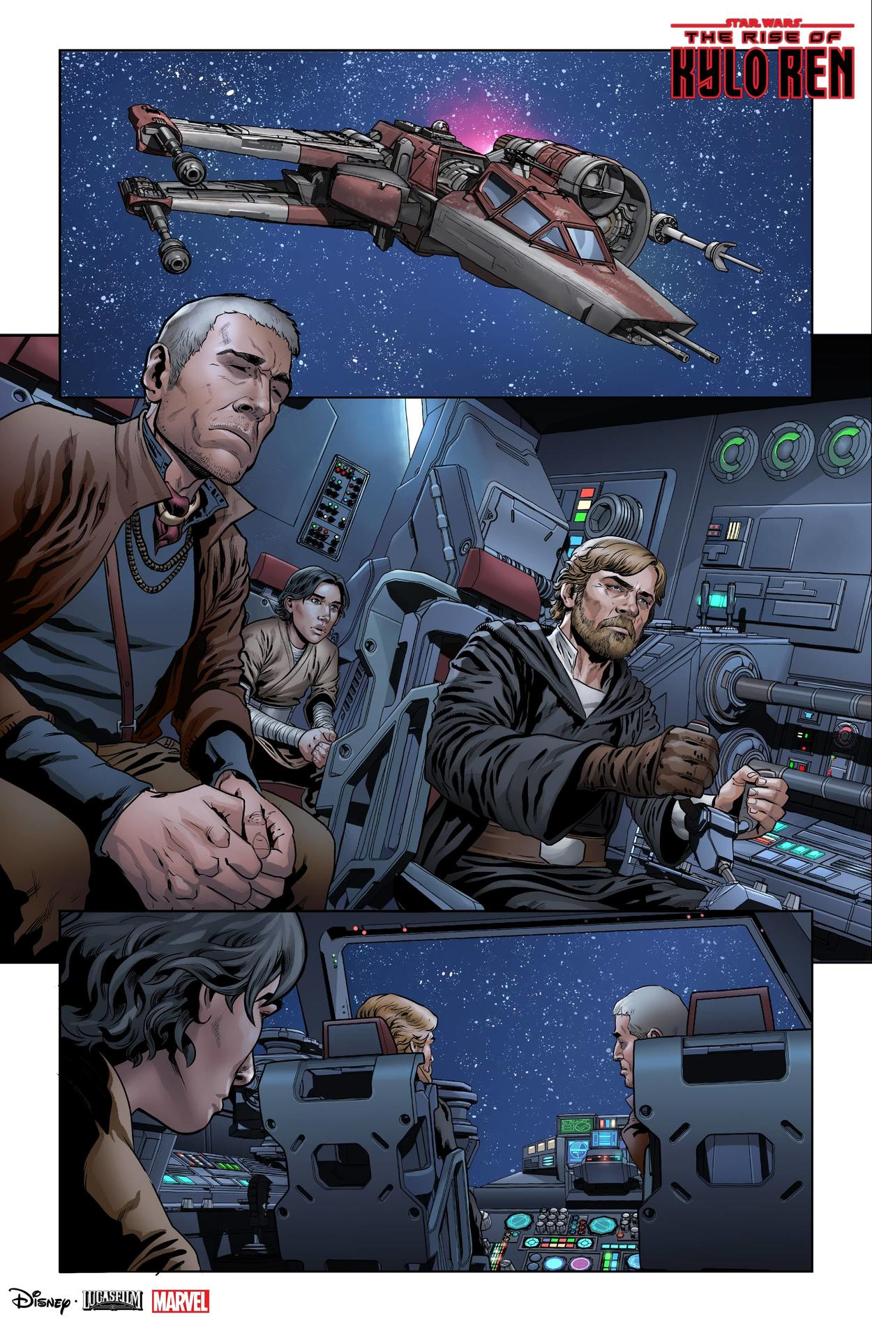 Luke Skywalker, Lor San Tekka and Ben Solo in The Rise of Kylo Ren issue 2