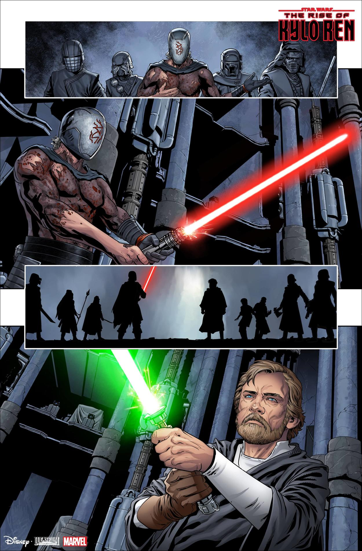 Luke Skywalker stands off against the leader of the Knights of Ren