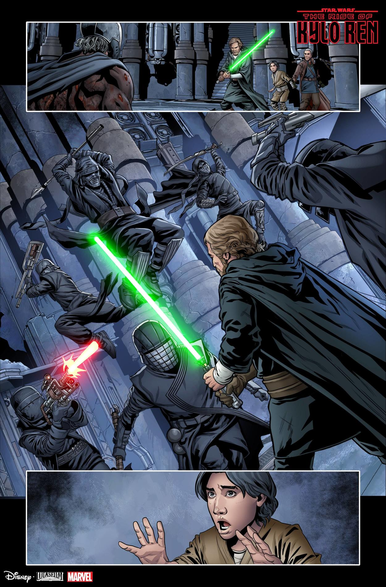 Luke Skywalker fights the Knights of Ren