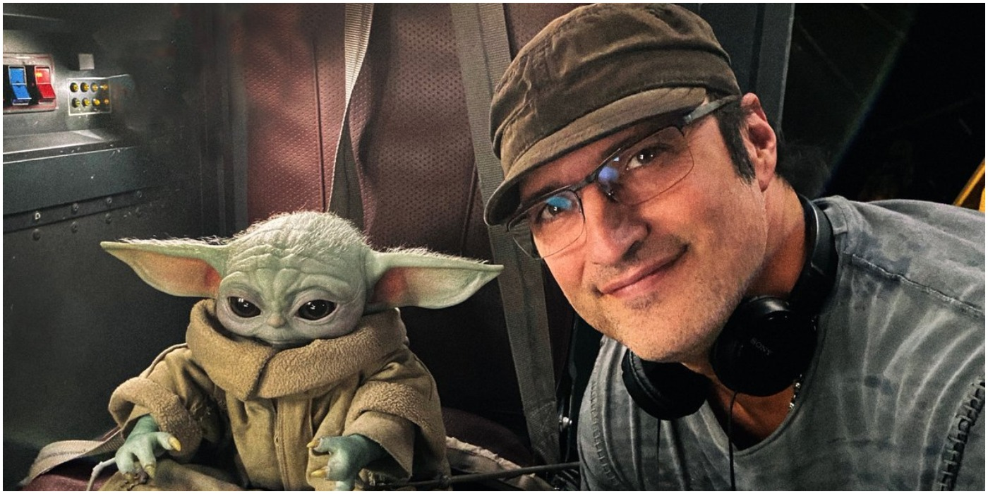 Robert Rodriguez with Baby Yoda for The Mandalorian