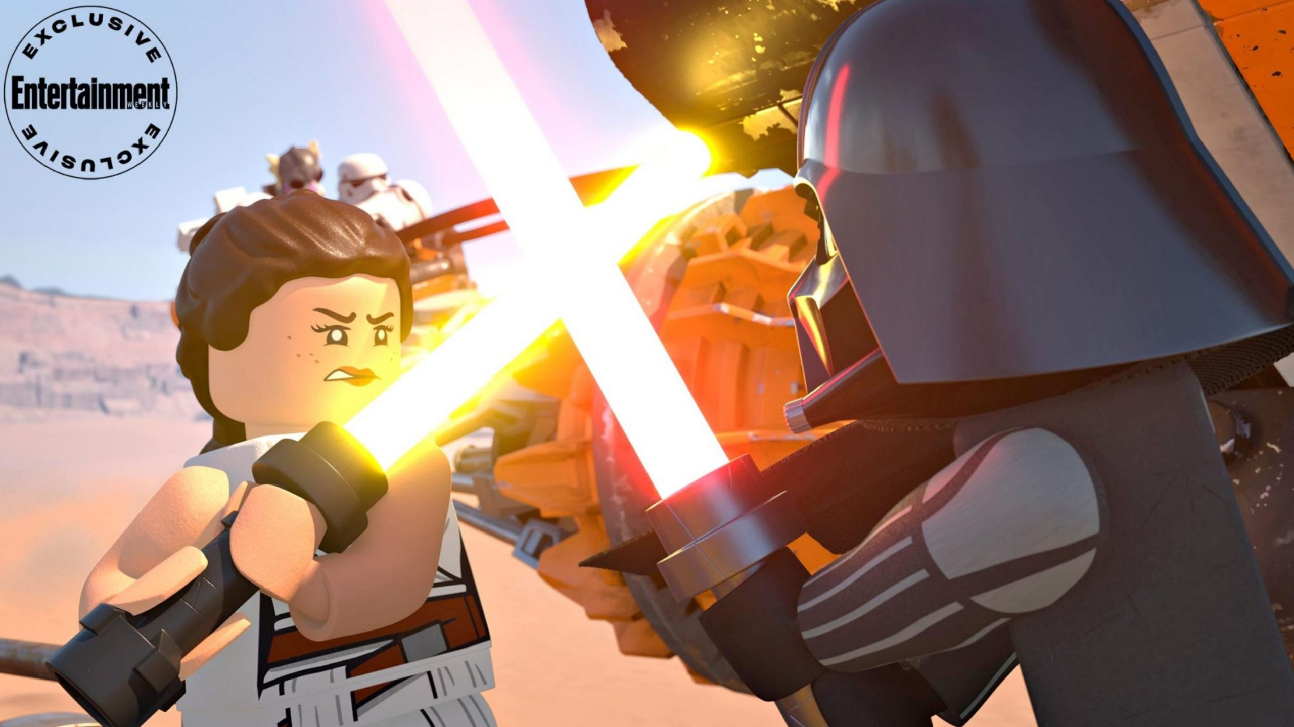 Rey fights Darth Vader in the Lego Star Wars Holiday Special