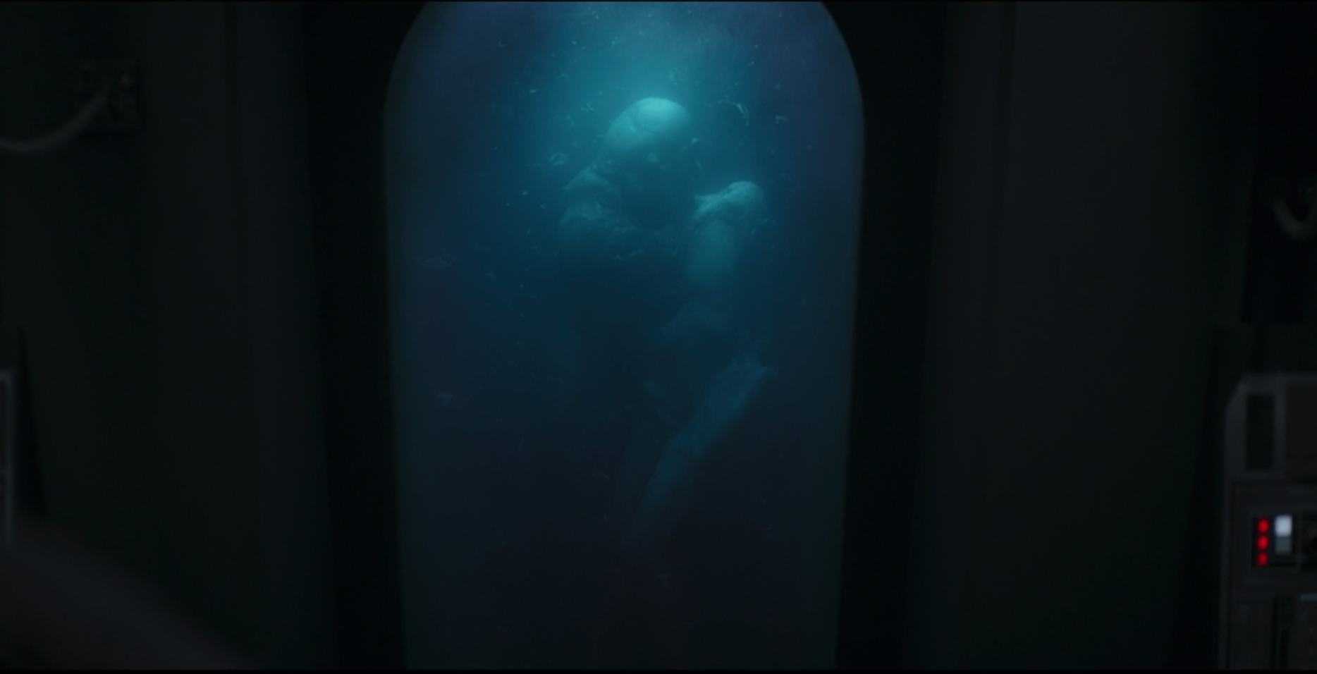 A body suspended in a vat in The Mandalorian