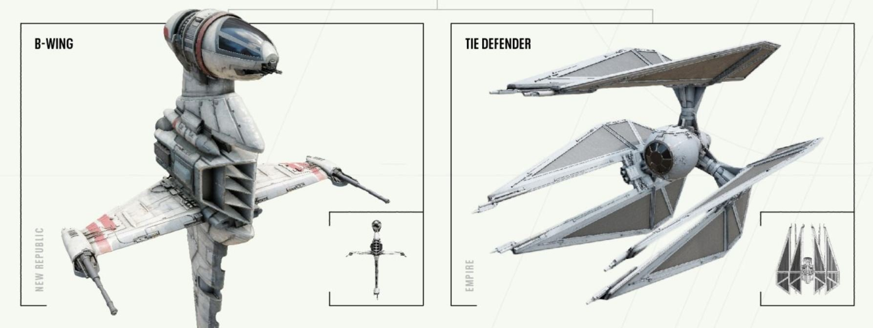 B-wing and TIE Defender
