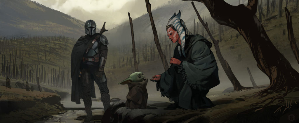 Ahsoka and Grogu Concept Art by Brian Matyas