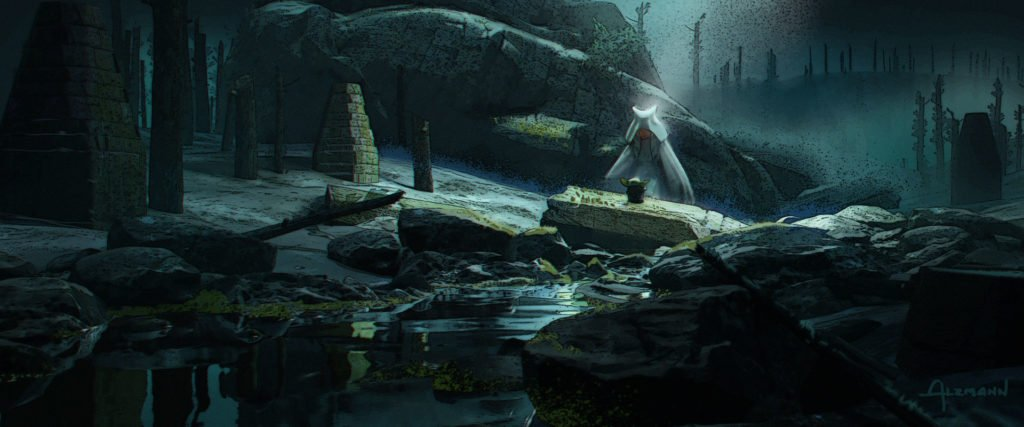 Ahsoka in the Forest Concept Art by Christian Alzmann