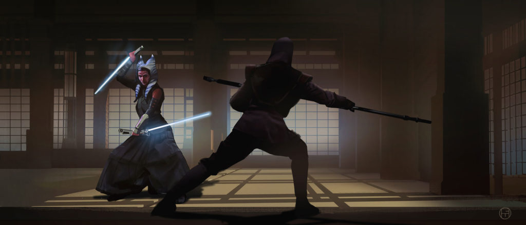 Ahsoka Fighting Concept Art by Brian Matyas