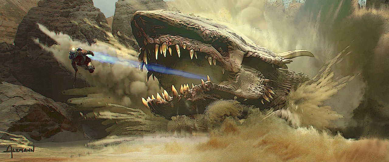 Krayt Dragon Concept Art (Christian Alzmann)