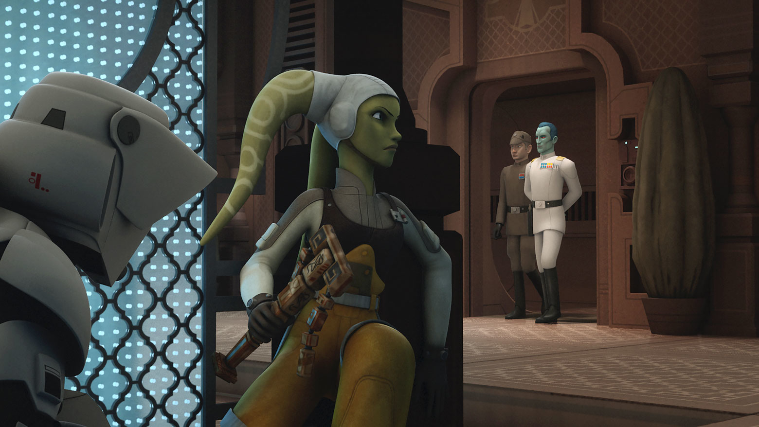 Hera and Ezra hide from Thrawn in Star Wars Rebels