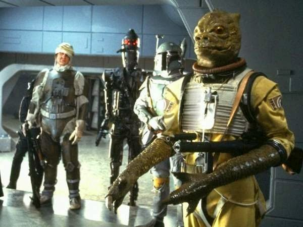 Bossk and bounty hunters in Star Wars The Empire Strikes Back. Bossk suit prop and IG-88 head prop.