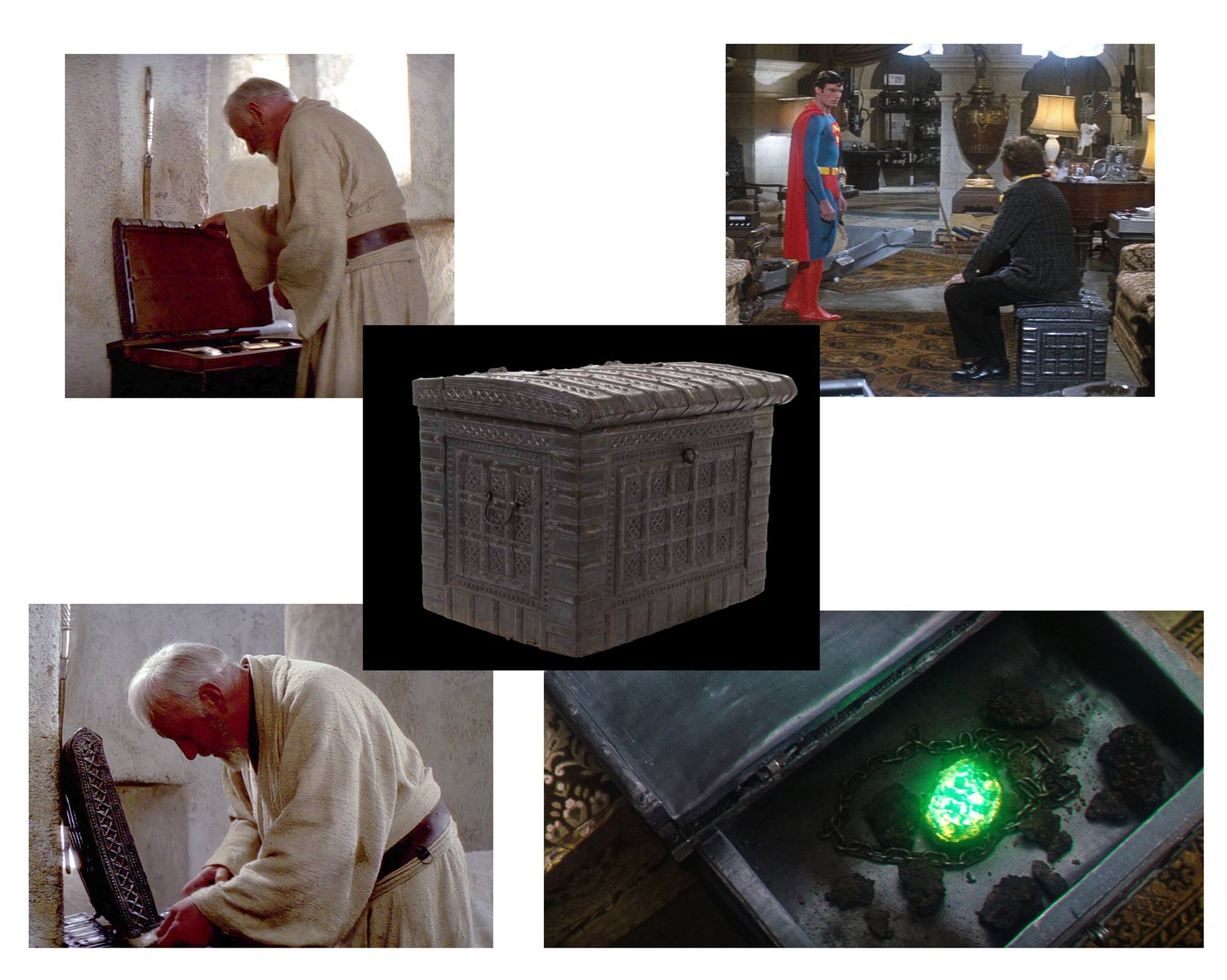 The same chest was used in Obi Wan's house and Lex Luthor's lair. Obi Wan and Lex Luthor box prop.
