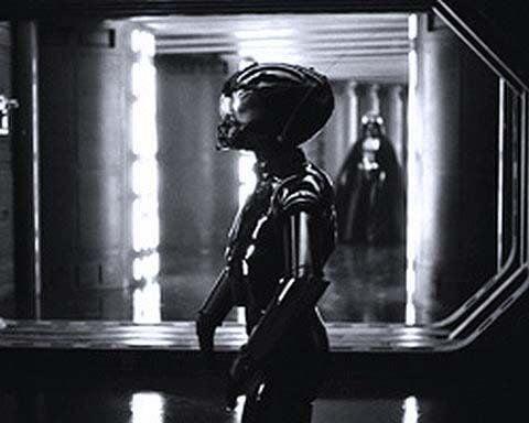 Death Star Droid production still. Black droid prop.