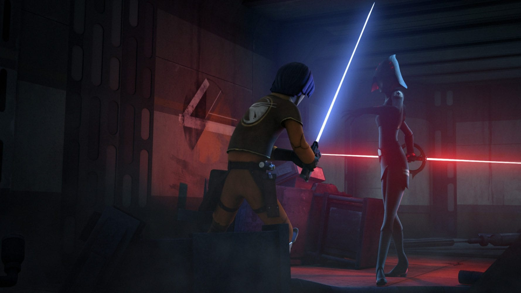 Ezra vs the seventh sister in Star Wars Rebels
