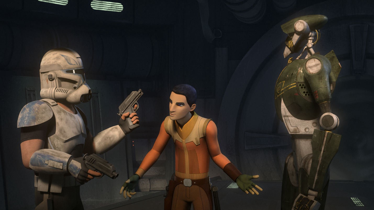 Ezra negotiates with Rex and the droid leader in Star Wars Rebels