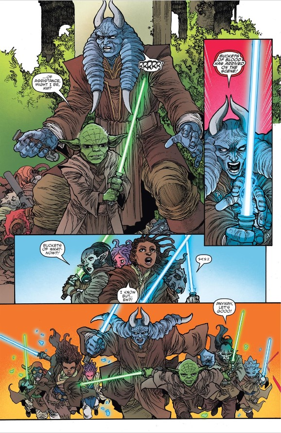 Yoda and Torban Buck help the padwans fight the Nihil