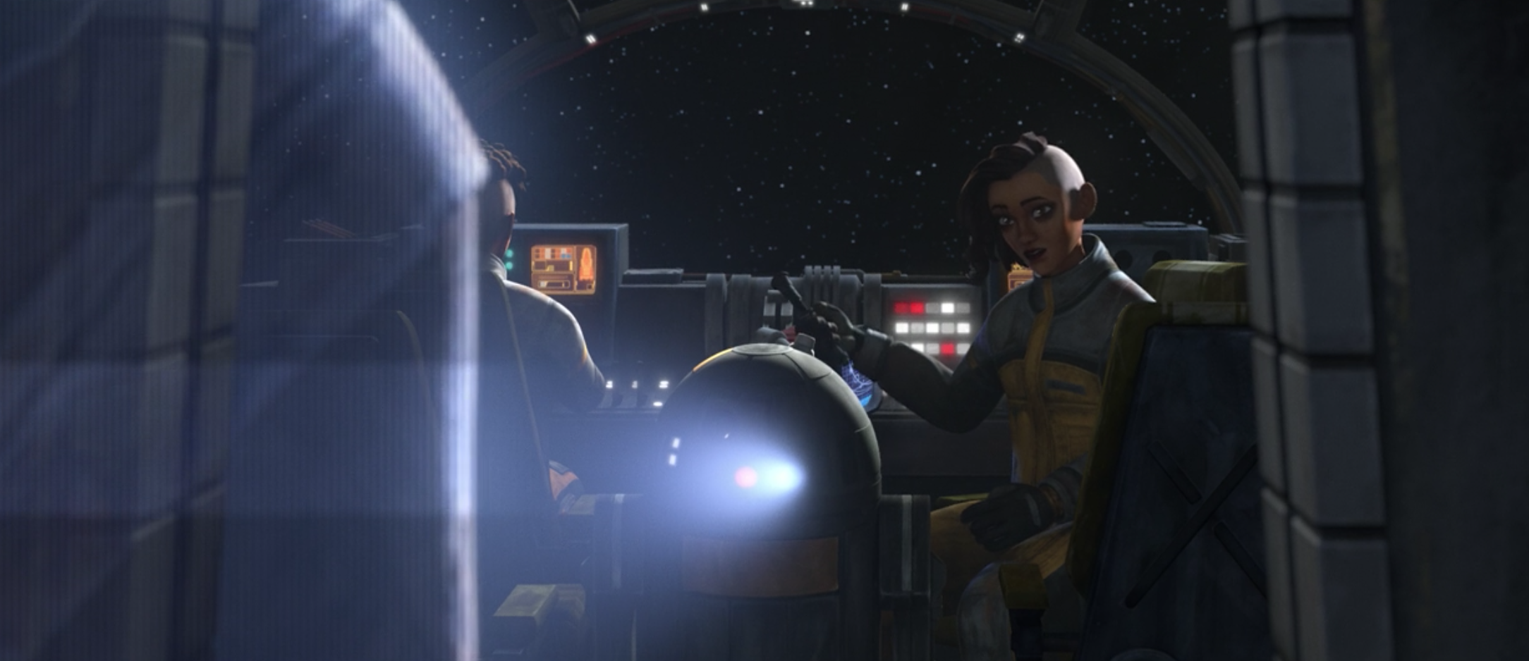 Rafa Martez speaking to a mysterious hologram