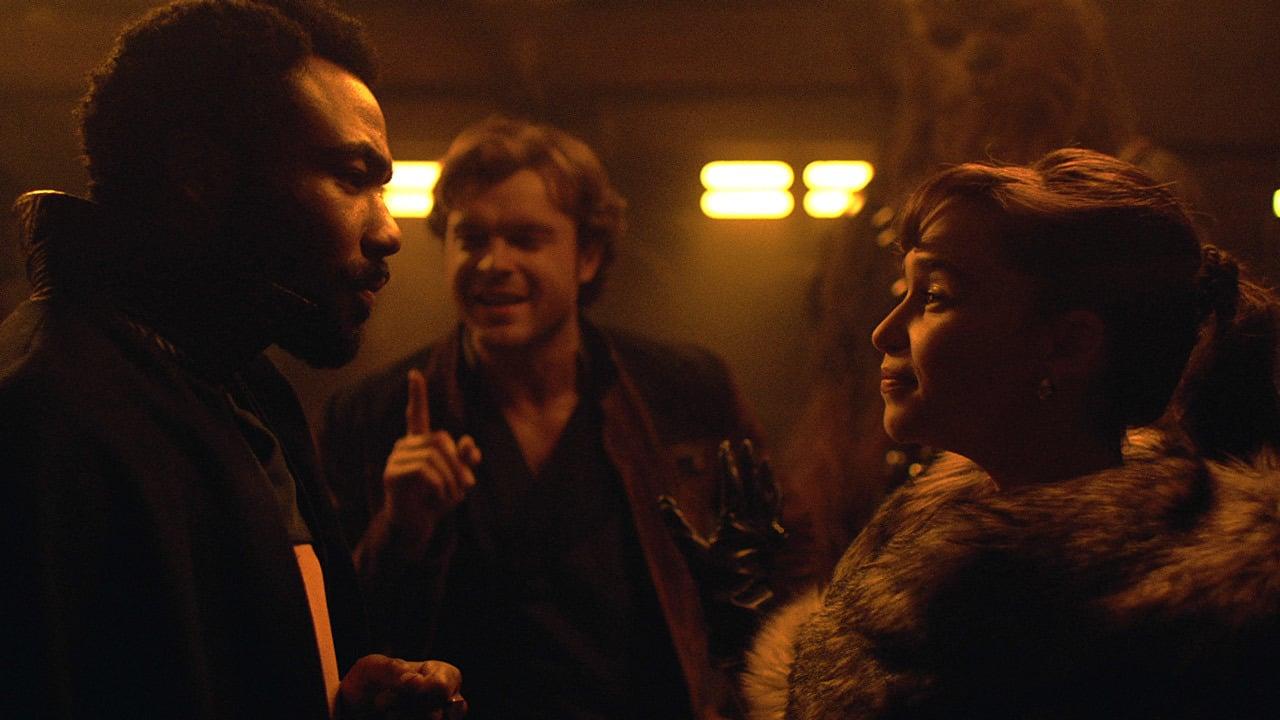 Lando and Qi'ra, played by Emilia Clarke