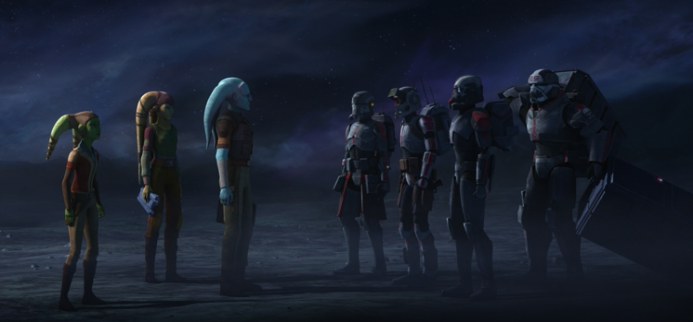 Hera and Cham's soldiers meet the Bad Batch