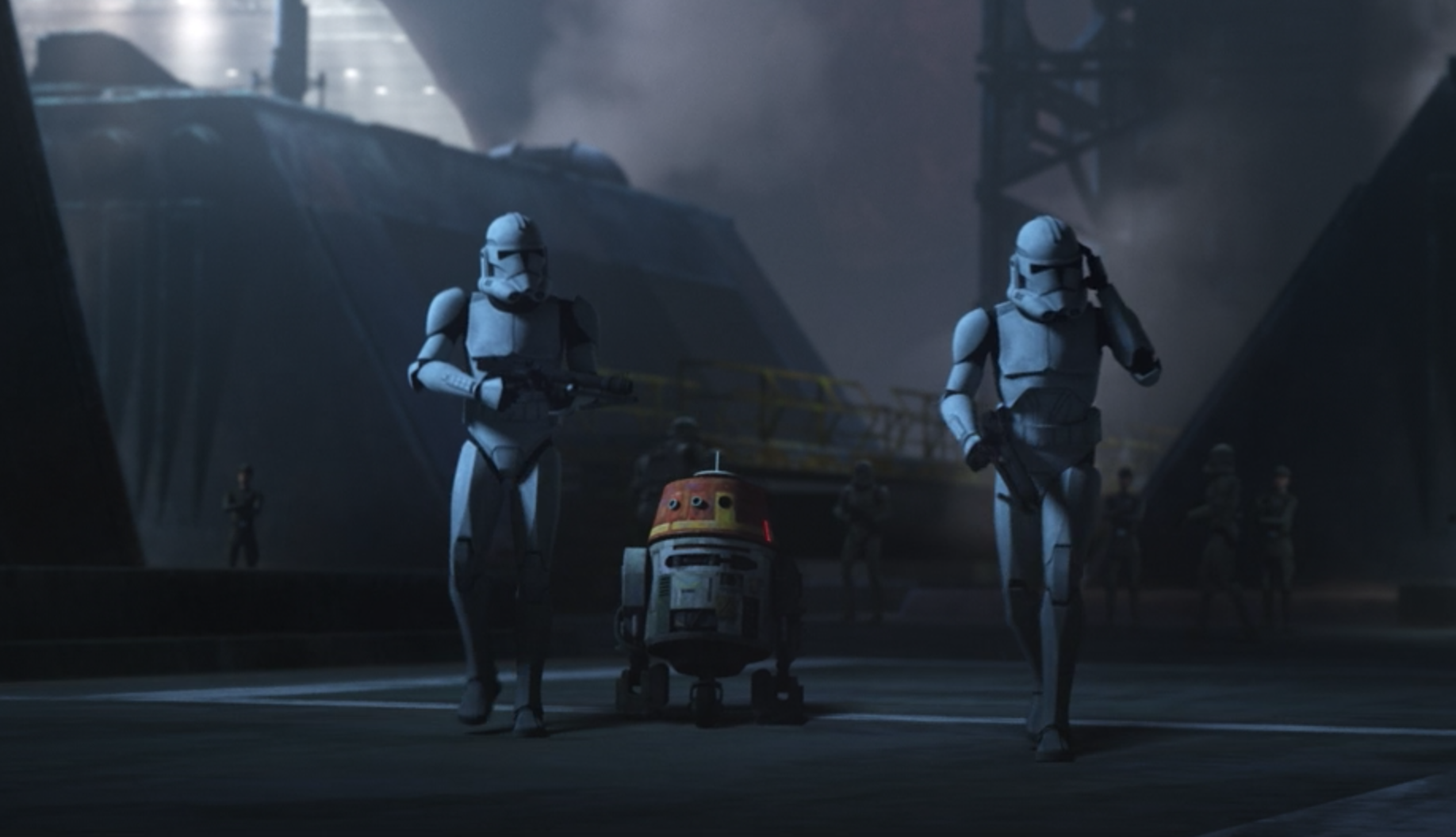 Chopper following two clone troopers in The Bad Batch