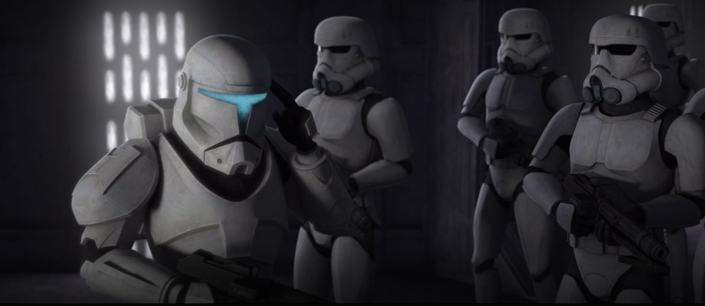 Clone commando leading stormtroopers in The Bad Batch